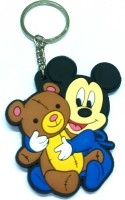 AA Retail Mickey Mouse Baby Double Side Silicone Keychain (Blue, Brown)