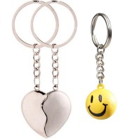 Chainz Broken Heart Metal And Smiley Ball Keychain (Multicolor)