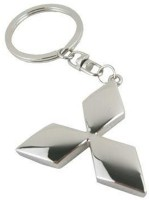 Confident Mitsubishi Rectangle Car Logo Keychain (Silver)