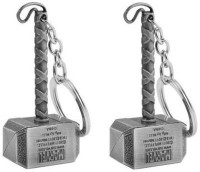 Confident Silver Color Metal Hammer Pack Of 2 Key Chain (Silver)