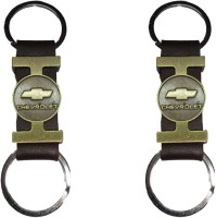 Singh Xpress Key Chain- Tri Material Brass Leather Chevrolet(Pack Of 2) Key Chain (Black)