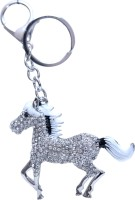 Dealfinity White And Black Studded Horse Metal DKYCN1564 Locking Key Chain (Multicolor)