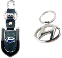 City Choice Hyundai Leather Metal Hook Combo Locking Key Chain (Chrome & Black)