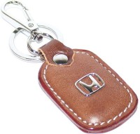 Aura Honda Cars Imported Metal & Leather Locking Keychain (Brown, Silver)