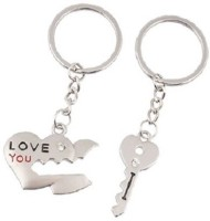 CTW Love You Heart Lock & Key Couple Metal Combo Key Chain (Silver)