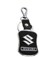 Shop & Shoppee Suzuki Leather Metal Locking Locking Key Chain (Black)