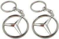 Confident Set Of 02 Mercedece Benz Car Logo Keychain (Silver)