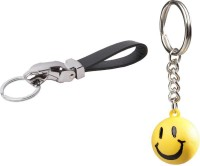 Chainz Leather Jaguar Black And Smiley Ball Keychain (Multicolor)