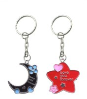 CTW Love You Forever Star And Moon Shape Valentine Gift Key Chain (Red, Black, Pink)