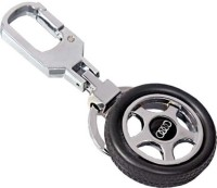 City Choice Wheel Keyring Locking Key Chain (Black & Chrome)