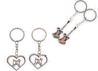 CTW Guitar Love You & Heart Love Couple Valentine Gift Key Chain (Silver)