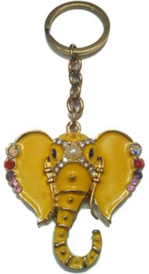 City Choice Yellow studded Ganesha Keychain