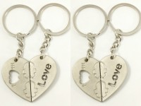 Singh Xpress Combo Of 2 I LoYe You Magnetic Opposing Hearts With Arrow ( For Him And Her) - Key Chains - Car And Bike - Fancy - Accessories Stainless Metal Alloy - - Valentines Special With Matte Finish Carabiner (silver)