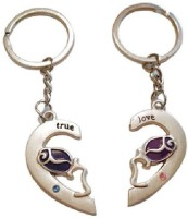 Ezone Broken Heart Spring Gate Sliver Key Chain (Multicolor)