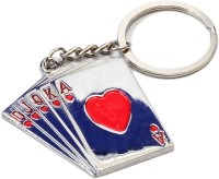 Accedre Designer Playing Cards Metal Keychain For Car/Bike Curved Gate Carabiner (Silver, Blue)