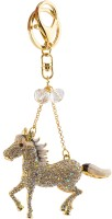 Yellow Chimes Running Horse Locking Key Chain (Silver)