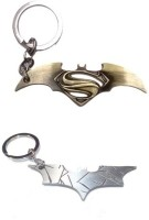 Chainz Batman Metallic Cutout And Bronze Logo Keychain (Silver, Golden)