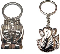 City Choice Combo Of Palm & Leaf Ganesha Key Chain (Chrome)