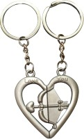 Bainsons Couple Love Arrow & Bow In Heart Shape Key Chain (Silver)