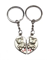 Aditya Traders Love Teddy Metal Heart With Magnet Ring Key Chain (Silver)