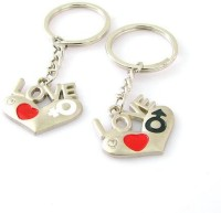 CTW Love Text Heart Shape Couple Valentine Gift Key Chain (Silver)