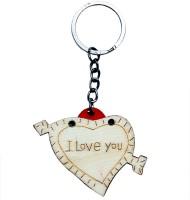 CTW Pine Wood I Love You Photoframe Keychain (Cream)