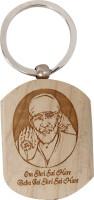 Lehar Toys Wooden Embossed Sai Baba Key Chain Locking (Off-White)