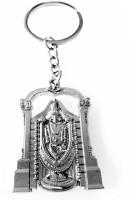 Aura Spiritual Venkateswara Tirupati Bajali Goodluck Full Metal Imported Locking Keychain (Silver)
