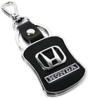City Choice Honda Leather & Metal Locking Key Chain (Black & Chrome)