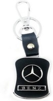 Aura Mercedes Benz Metal & Leather Imported Locking Keychain (Black, Silver)
