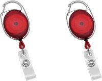 Dolphin Oval ID Card Holder (2 Pcs) Locking Carabiner (Red)