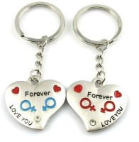 CTW Love You Forever Heart Pack Of 2 Couple Metal Key Chain (Silver)