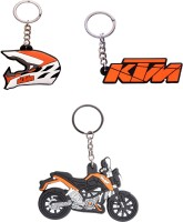 Spotdeal SDL368 SET Of 3 KTM LOGO , KTM Bike And KTM Helmet Key Chain Key Chain (Multicolor)