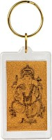Siri Creations God Ganesha With 24kt Gold Foil Ring Lock Key Chain (Gold)