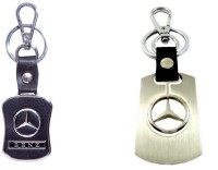 City Choice Leather & Metal Keyrings Locking Key Chain (Black & Chrome)