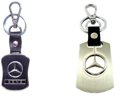 City Choice Leather & Metal Keyrings Locking Key Chain (Black & Chrome)