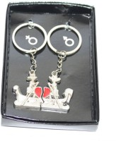 Aura Smooth Sailing Couple Metal Key Chain (Red, Silver)