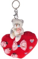 Anishop Cute Teddy Sitting On A Beautiful Heart Locking Carabiner (Red, Off White)