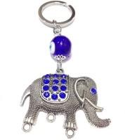 Aura Feng Shui Elephant Evil Eye Locking Keychain (Blue, White, Silver)