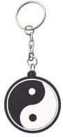 Confident Non Metal Black And White Rubber Logo Key Chain (Black, White)