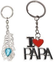 CTW I Love Papa & Omg Metal Combo Pack Keychain (Silver)