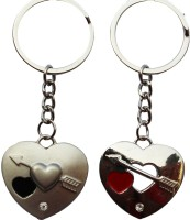 Anishop Couple Of Heart Key Chain (Silver)
