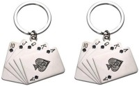 Confident Set Of 2 POKER CARDS Metal Key Chain (Silver)