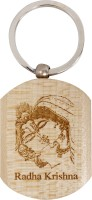 Lehar Toys Wooden Embossed Radha Krishna Key Chain Locking (Off-White)