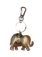 Thinksters Handcrafted Wooden Elephant KeyChain Locking Carabiner (Grey)