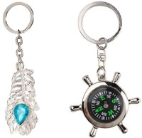 Chevron OMG & Compass Date Perpetual With Calendar Up-to 50 Years Combo Set Key Chain (Silver)