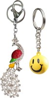 Chainz Stone Studded Peacock And Smiley Ball Keychain (Multicolor)