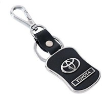 Ezone Toyota Leather & Metal Car Logo Locking Locking Key Chain (Black)