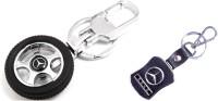 City Choice Combo Of Mercedes Keychains Locking Key Chain (Black & Chrome)