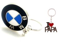 99dailydeals R90 Combo Of 2 Bmw And Ilove Papa Keychain (Multicolour)